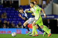 Tomer Hemed of Brighton & Hove Albion (R) in action with Stephen Gleeson of Birmingham City chasing. <br /> Sky Bet Football League Championship match, Birmingham City v Brighton & Hove Albion at St.Andrew's Stadium in Birmingham, the Midlands on Tuesday 5th April 2016.<br /> Pic by Ian Smith, Andrew Orchard Sports Photography.