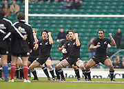 Twickenham, Surrey, 4th December 2004, The Gartmore Challenge Rugby Cup,  Barbarians vs New Zealand, RFU Stadium, England,<br /> Traditional 'Haka' before the game<br /> <br /> [Mandatory Credit; Peter Spurrier/Intersport Images]