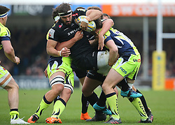 Exeter Chiefs Don Armand is tackled during the Aviva Premiership match at Sandy Park, Exeter.