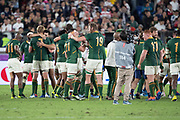Francois Louw of South Africa (left) and RG Snyman of South Africa (right) look at each other and smile after the Rugby World Cup  final match between England and South Africa at the International Stadium ,  Saturday, Nov. 2, 2019, in Yokohama, Japan. South Africa defeated England 32-12. (Florencia Tan Jun/ESPA-Image of Sport)