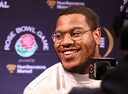 December 29, 2017 - Los Angeles, CA, USA - Georgia defensive end Jonathan Ledbetter takes questions during the Georgia defensive press conferences for the Rose Bowl against Oklahoma on December 29, 2017, in Los Angeles. (Credit Image: © Curtis Compton/TNS via ZUMA Wire)
