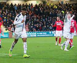 Falkirk's Myles Hippolyte celebrates after scoring their goal. Dunfermline 1 v 1 Falkirk, Scottish Championship game played 26/12/2016 at East End Park.