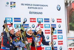 March 16, 2019 - –Stersund, Sweden - 190316 Synnøve Solemdal, Ingrid Landmark Tandrevold, Tiril Eckhoff and Marte Olsbu Røiseland of Norway celebrate after  the Women's 4x6 km Relay during the IBU World Championships Biathlon on March 16, 2019 in Östersund..Photo: Johan Axelsson / BILDBYRÃ…N / Cop 245 (Credit Image: © Johan Axelsson/Bildbyran via ZUMA Press)