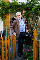 © Licensed to London News Pictures. 26/09/2015. London, UK. Labour Party leader JEREMY CORBYN leaving his house in Islington, north London on Saturday, 26 September 2015, the day before Labour Party conference starts in Brighton. Photo credit: Tolga Akmen/LNP