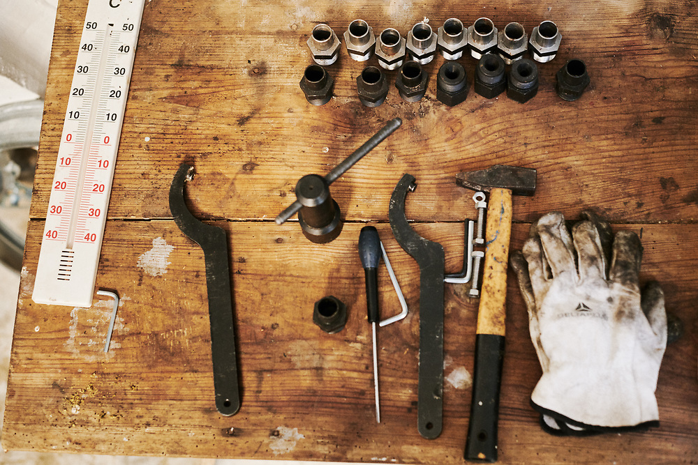 A set of tools used by Maison Caulieres to extract oil from seeds. Dolus-le-Sec, France. October 7, 2019.