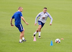 EXCLUSIVE ALL ROUNDER Eden Hazard is seen on the Chelsea training pitch today at Cobham in Surrey. The Belgian star is recovering from a broken ankle.<br /><br />25 July 2017.<br /><br />Please byline: IKM PICS/Jim Bennett/Vantagenews.com