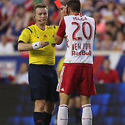 Matt Miazga, New York Red Bulls, is sent off by referee Alan Kelly during the New York Red Bulls Vs NYCFC, MLS regular season match at Red Bull Arena, Harrison, New Jersey. USA. 10th May 2015. Photo Tim Clayton