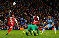 Andrea Raggi of Monaco clears the ball under pressure from Sergio Aguero of Manchester City - Mandatory by-line: Matt McNulty/JMP - 21/02/2017 - FOOTBALL - Etihad Stadium - Manchester, England - Manchester City v AS Monaco - UEFA Champions League - Round of 16 First Leg