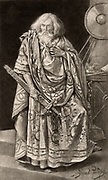 Henry Irving (1838-1905) English actor-manager. The first actor to be honoured with a knighthood (1895). Irving as the king in the tragedy 'King Lear' by William Shakespeare  Photogravure of the painting by Bernard Partridge.