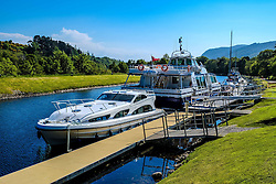 Pleasure craft moored on the Caledonian Canal at Dochgarroch, Inverness-shire<br /> <br /> (c) Andrew Wilson | Edinburgh Elite media