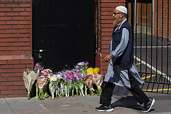 June 19, 2017 - London, Greater London, UK - Flowers left in memory of the dead and injured , outside Finsbury Park Mosque . One man is known to be dead and several injured after a hired van was driven into people on Whadcoat Street in Finsbury Park in North London after late night prayers at a nearby mosque. (Credit Image: © Joel Goodman/London News Pictures via ZUMA Wire)