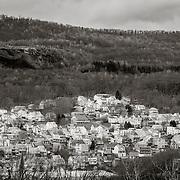 Shamokin, PA neighborhood with anthracite mining tailings mountain