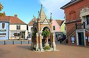 Historic well in Market Hill, Woodbridge, Suffolk, England, UK