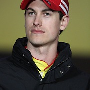 NASCAR Sprint Cup driver Joey Logano is seen during the driver introductions prior to the NASCAR Sprint Unlimited Race at Daytona International Speedway on Saturday, February 16, 2013 in Daytona Beach, Florida.  (AP Photo/Alex Menendez)