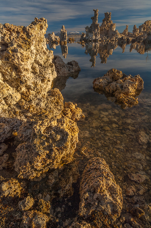 Mono Lake and tufa towers, morning light, April, eastern Sierra Mountains in the distance,  Mono Lake State Natural Reserve, Mono County, California, USA