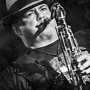 Saxophonist Michael Caldwell performing with Sue DaBaco at Pridefest Milwaukee. Photo by Jennifer Rondinelli Reilly.