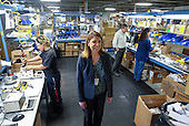 Employee works at manufacturing facility of Bobrick Washroom Equipment Co..