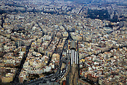 Aerial view of city centre of Valencia, Spain Estació del Nord railway station area