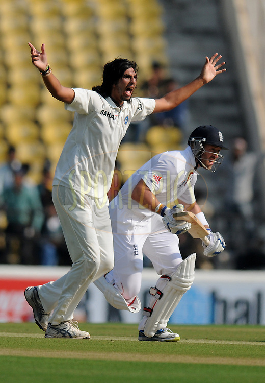 Ishant Sharma of India  appeals unsuccessfully for the wicket of Matt Prior of England during day two of the 4th Airtel Test Match between India and England held at VCA ground in Nagpur on the 14th December 2012..Photo by  Pal Pillai/BCCI/SPORTZPICS .