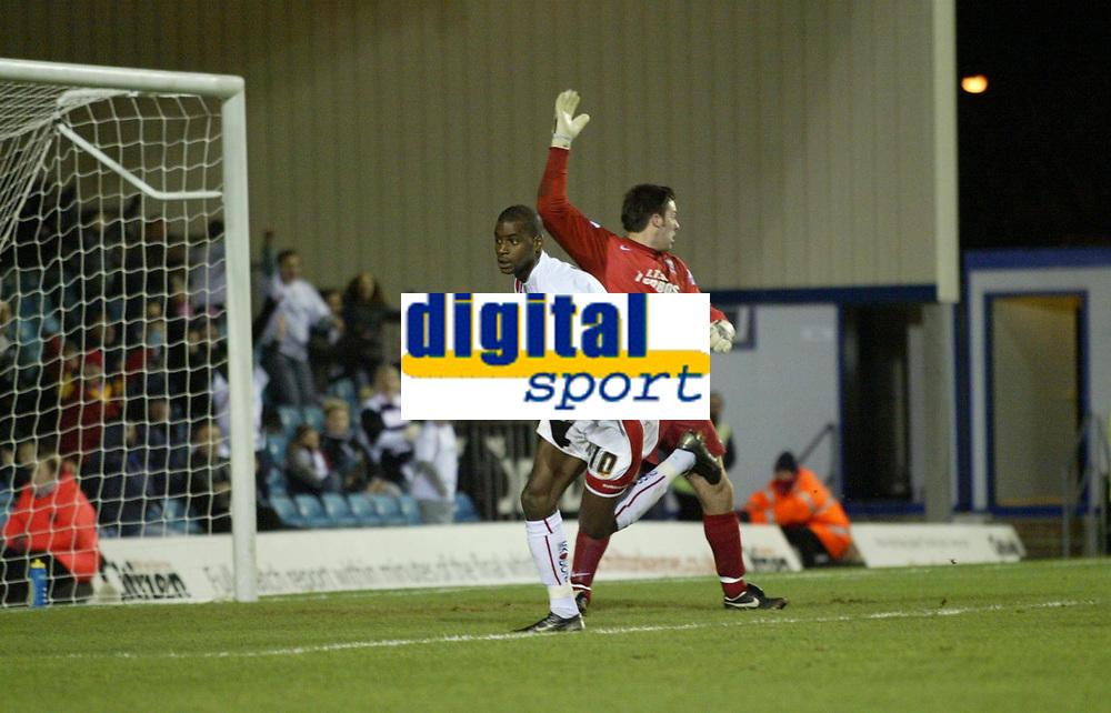 Photo: Marc Atkins.<br /> Milton Keynes Dons v Farsley Celtic. The FA Cup. 21/11/2006. . Izale McLeod celebrates scoring for MK Dons.