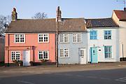 Pretty village cottages at Alderton, Suffolk, England
