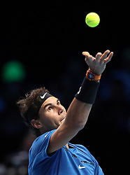 Spain's Rafael Nadal during his match against Belgium's David Goffin during day two of the NITTO ATP World Tour Finals at the O2 Arena, London.