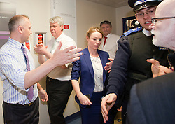 """© Licensed to London News Pictures. 05/03/2012. London, England.  As Health Secretary Andrew Lansley today, 5 March, visited the Royal Free NHS Hospital in Hampstead, he was pursued by protesters from the group """"Keep Our NHS Public"""". Photo credit: Bettina Strenske/LNP"""
