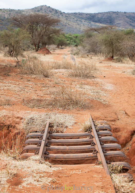 Old, disused railway tracks the linked a factory to the nearby town, outside of Nairobi, Kenya