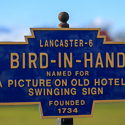 Bird-in-Hand, PA / USA - January 10, 2016: The Bird-in-Hand Road Sign at the entrance of the small Lancaster County village.