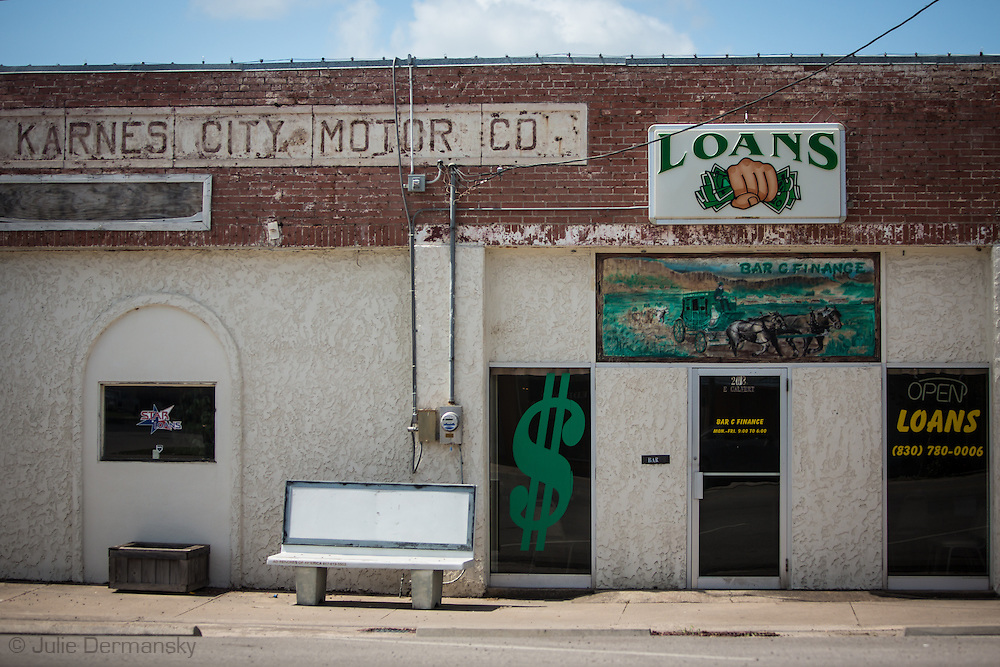 Karnes City Texas, in Karnes County in the heart of the Eagle Ford Shale. Despite the fracking industry boom much of the city has closed businesses and blighted buildings.
