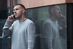 "© Licensed to London News Pictures . File picture dated 18/03/2015 of LIAM EDWARDS outside Manchester Magistrates' Court as today (23rd July 2015) Edwards has been sentenced to a four-week curfew to run between 2100 and 0700 at Manchester Magistrates' Court. Edwards was charged with Causing Racially or Religiously Aggravated Criminal Damage . On 18th February 2015 , stickers reading "" Beware! Halal is barbaric and funds terrorism "" were placed by Edwards on products and displays in Sainsbury's supermarket , on Regent Road in Salford . Photo credit : Joel Goodman/LNP"