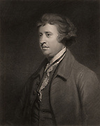 Edmund Burke (1729-1797) Anglo-Irish orator, political philosopher and writer, member of the Whig political party. Engraving after the portrait by Joshua Reynolds. From 'The Gallery of Portraits', Vol III, by Charles Knight (London, 1834). Engraving.