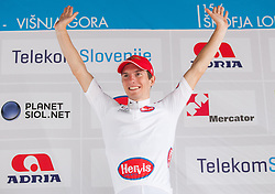 Second placed Jan Polanc (SLO) of Radenska with white jersey during flower ceremony after the Stage 3 from Skofja Loka to Vrsic (170 km) of cycling race 20th Tour de Slovenie 2013,  on June 15, 2013 in Slovenia. (Photo By Vid Ponikvar / Sportida)