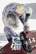 Image of a Bonneville Salt Flats racer preparing his hotrod in Wendover, Utah, American Southwest by Randy Wells