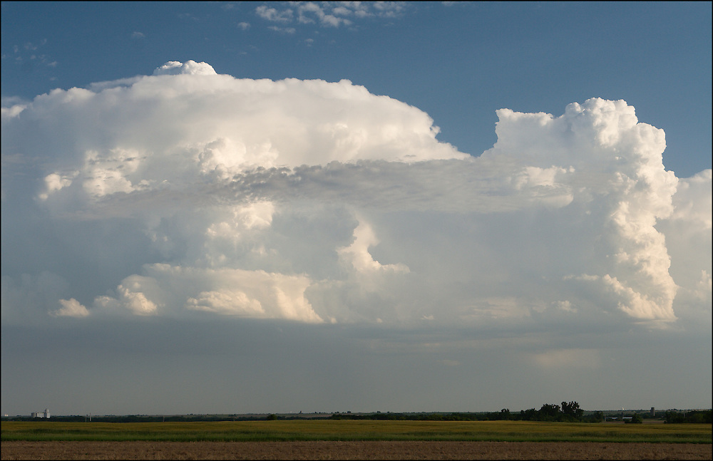 Developed supercell thunderstorm with perfect structure with an overshooting top in Central Kansas.