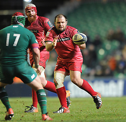 Scarlets replacement, Jacobie Adriaanse - Photo mandatory by-line: Dougie Allward/JMP - Mobile: 07966 386802 - 16/01/2015 - SPORT - Rugby - Leicester - Welford Road - Leicester Tigers v Scarlets - European Rugby Champions Cup