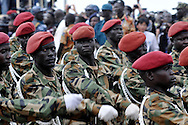 SPLA soldiers parade in front of dignitaries at the official independence day ceremony. After decades of conflict, Southern Sudan declared independence from the North on July 9th, 2011. Government officials, foreign dignitaries and ordinary people came to the John Garang Memorial in the capital from all over the country and the world to celebrate the historic occation..Juba, South Sudan. 09/07/2011..Photo © J.B. Russell