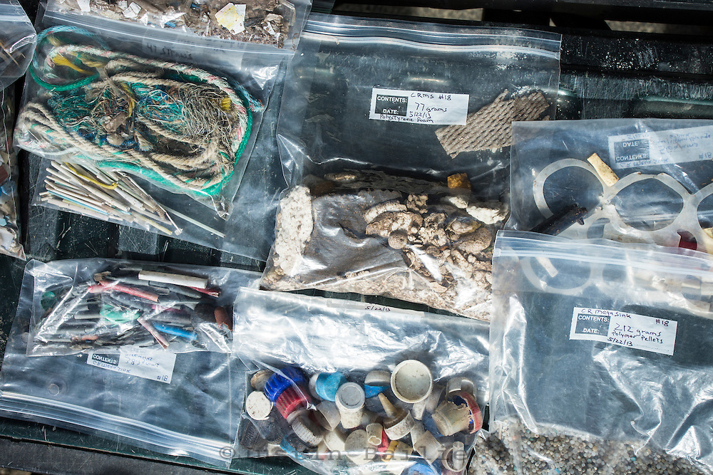 Plastics and other various garbage gathered and separated on Oregon beaches by Mark Ward of Sea Turtles Forever to show and edutational purposes.