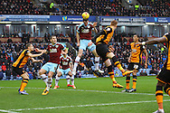 Michael Keane of Burnley gets his head to the ball but can't get it on target. Skybet football league Championship match, Burnley v Hull city at Turf Moor in Burnley ,Lancs on Saturday 6th February 2016.<br /> pic by Chris Stading, Andrew Orchard sports photography.