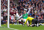 The William Hill Scottish FA Cup Final 2012 Hibernian Football Club v Heart Of Midlothian Football Club..19-05-12...Hearts Ryan McGowan scoring  for Hearts to make it 4-1        during the William Hill Scottish FA Cup Final 2012 between (SPL) Scottish Premier League clubs Hibernian FC and Heart Of Midlothian FC. It's the first all Edinburgh Final since 1986 which Hearts won 3-1. Hearts bid to win the trophy since their last victory in 2006, and Hibs aim to win the Scottish Cup for the first time since 1902....At The Scottish National Stadium, Hampden Park, Glasgow...Picture Mark Davison/ ProLens PhotoAgency/ PLPA.Saturday 19th May 2012.