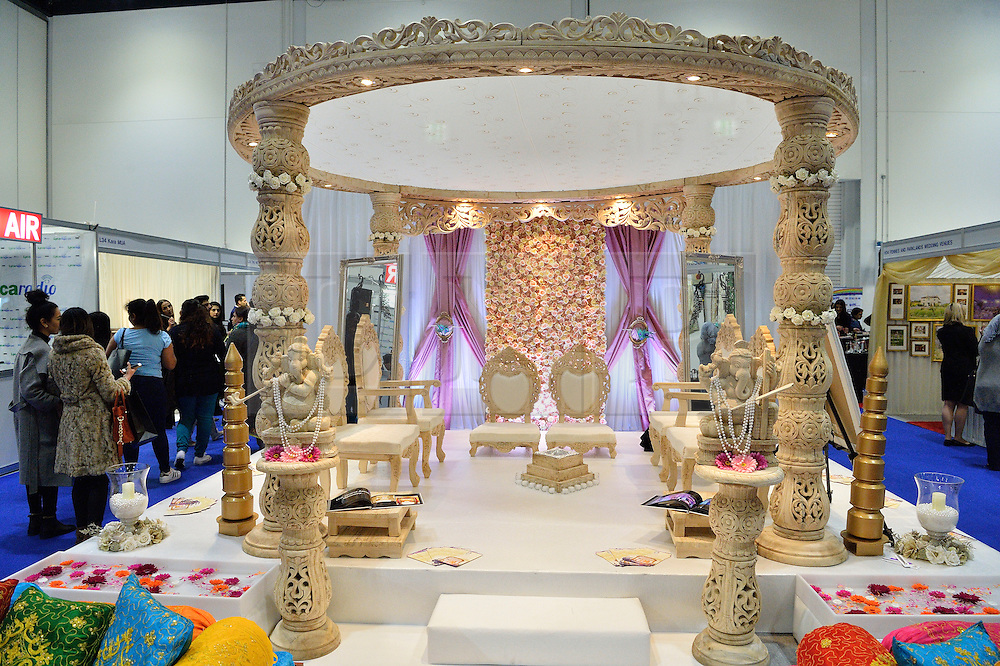 © Licensed to London News Pictures. 27/03/2016. A stand showing a wedding ceremony setting at the Asian Bride Live Wedding Show featuring fashion, beauty and services for brides to be. London, UK. Photo credit: Ray Tang/LNP