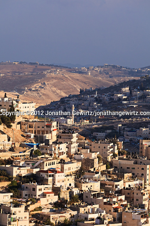 Daytime view of the Arab village of Silwan (Shiloah), near the southeastern corner of the Old City of Jerusalem. WATERMARKS WILL NOT APPEAR ON PRINTS OR LICENSED IMAGES.