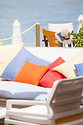 Close-up of sun loungers on beach, Latchi, Cyprus