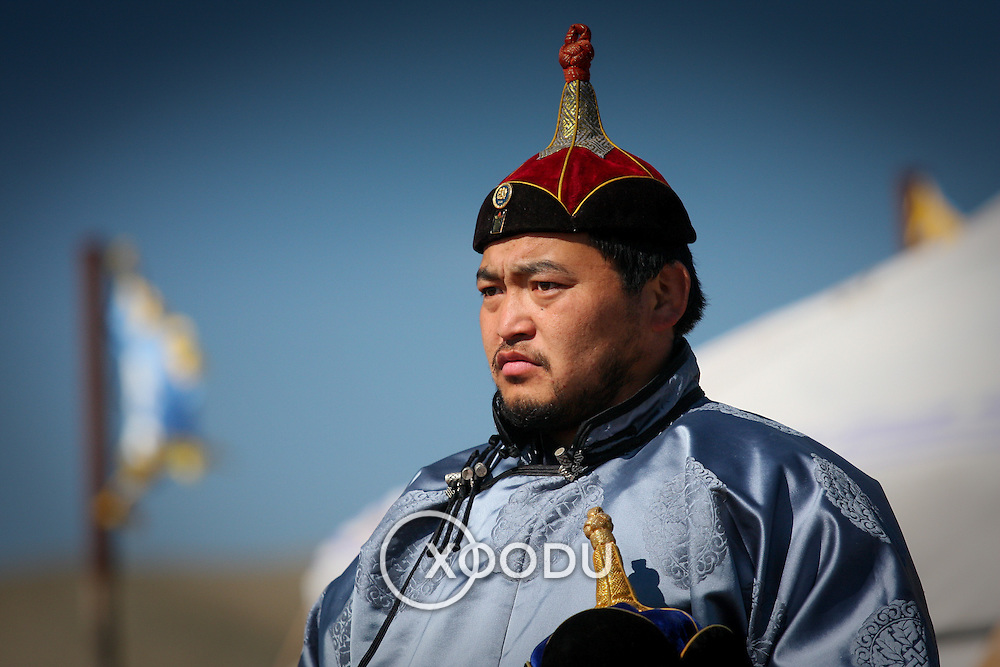 Mongolian wrestling referee in traditional costume (, Mongolia - Aug. 2008) (Image ID: 080830-0958201a)