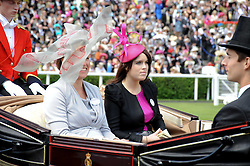 Left to right, VISCOUNTESS GRIMSTON and PRINCESS EUGENIE OF YORK at the third day of the Royal Ascot 2010 (Ladies Day) Racing Festival at Ascot Racecourse, Bershire on 17th June 2010.