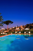 Swimming pool at the Relais Il Falconiere (hotel), outside Cortona, Tuscany, Italy