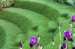 Grass steps / terracing<br /> A Theatrical Garden<br /> The Evening Standard. Design: Xa Tollemache, Chelsea 2001
