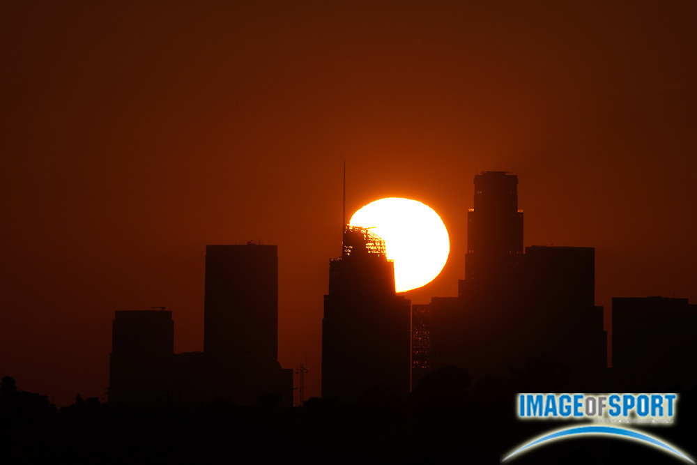 Sunset over downtown Los Angeles skyline in skies darkened by California wildfires, Sunday, Sept. 20, 2020.