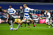 GOAL 3-1 penalty Queens Park Rangers (QPR) attacker Lyndon Dykes (9) during the EFL Sky Bet Championship match between Queens Park Rangers and Rotherham United at the Kiyan Prince Foundation Stadium, London, England on 24 November 2020.