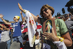 June 3, 2017 - Rome, Italy - Faithful attend a Pentecost vigil prayer lead by Pope Francis, on the occasion of Golden Jubilee, at the Circus Maximus. (Credit Image: © Giuseppe Ciccia/Pacific Press via ZUMA Wire)